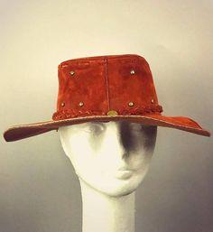 ViNtAgE Suede Leather Hat Folk Fest cap Festival Boho Gypsy