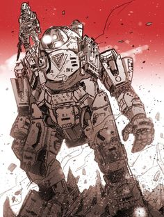 Titanfall, fightin' tall, stand and watch as its standing watch, it's overland trouble over land n' rubble.