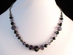 Purple and Black Crystal Beaded Necklace £12.00