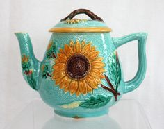 MIS archive image. English Majolica Tea Pot. Fielding. Aesthetic Sunflower design. Late 19th Century