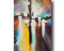 Cross Painting, Abstract Painting,  Large Abstract, Original Painting on Stretched Canvas, Acrylic,Contemporary Art,24x36 Heather Day