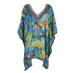 5aa5c6a56391b ... Womens Short Kimono Kaftan Colorful Jewel Print Rhinestone V Neckline  Lightweight Beach Cover Up Swimwear Evening Holiday Caftan House Dress One  Size ...