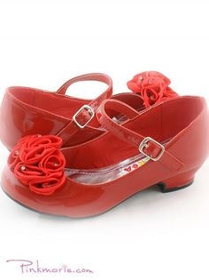 Girl Dress Shoes, Dark Brown/Red, Diamond Ribbon, Velco Closure ...