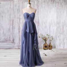 2016 Steel Blue Bridesmaid Dress, Strapless Wedding Dress, Ruffle Chiffon Sweetheart Prom Dress, A Line Formal Dress Floor Length (J037) by RenzRags on Etsy https://www.etsy.com/listing/399787903/2016-steel-blue-bridesmaid-dress