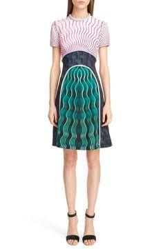 Metallic Trim Print Crepe Dress