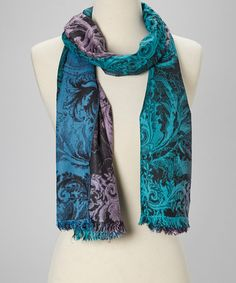 Take a look at this Teal & Pink Arabesque Silk-Blend Scarf by Rapti on #zulily today!