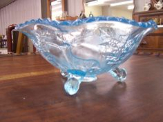 Blue Stag & Holly Footed Glass Bowl by Antiquesmarketplace on Etsy