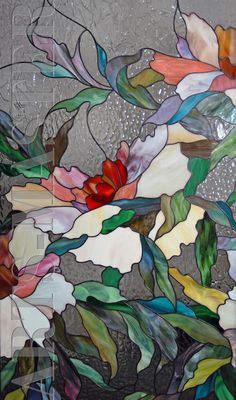 Витраж Пионы | Stained Glass panel feat. large peach, white and red flowers w/foliage ♥•♥•♥