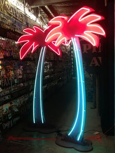 Vintage 1980's Neon PALM TREE  Tiki Decor / by TheNeonPrincess, $2500.00  ((tropical neon! glowy colours popping against the darkness... ))