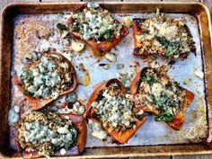 twice baked honey nut squash with kale, quinoa and blue cheese - Dishing Up the Dirt