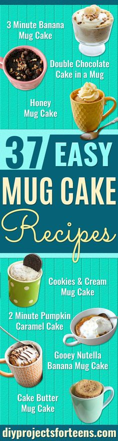 Easy Mug Cake Recipes - Best Microwave Cakes and Ideas for Baking Ckae in The Microwave - Chocolate, Vanilla, Healthy, Snickerdoodle, Peanut Butter, Bownie and Nutella - Step by Step Tutorials and Instructions - Besy DIY Projects and Recipes for Teens and Teenagers - http://diyprojectsforteens.com/easy-mug-cake-recipes