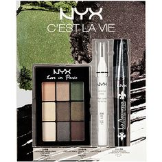 NEW! NYX C'est La Vie Holiday Set $19.99 Achieve effortless elegance using our Love in Paris C'est La Vie palette, featuring shimmery browns, beiges and deep greens. Intensify these luxurious shades by prepping with the Jumbo Eye Pencil in Milk and complete the look with our lash curling and lengthening Boudoir Mascara.