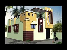 Village House Design, House Front Design, Village Houses, 3d Home Design, Modern House Design, Design Ideas, Single Storey House Plans, Two Storey House, Front Elevation Designs