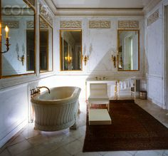 The Breakers | Mr. Cornelius Vanderbilt II's luxury bathroom with carved marble bathtub. Newport, RI.