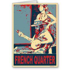 French Quarter Banjo Player Greeting Card
