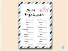 Travel Bridal Shower Games Bridal Word by MagicalPrintable on Etsy