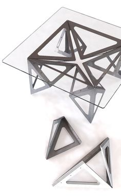 Coin-coin, a decorative table inspired by the origami game cootie catcher #design Designer Vivien Muller