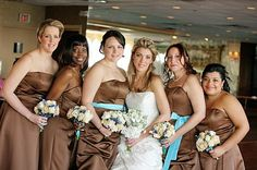 Brown and tiffany blue bridesmaids dresses