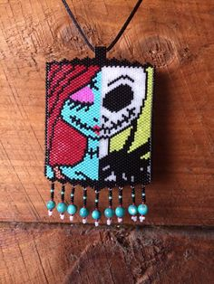 peyote beaded Nightmare Before Christmas necklace, saw this pattern, had to give it a try...