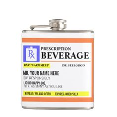 Funny Prescription Label Beverage Flask