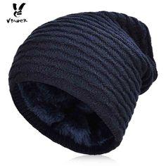 Men Winter Warm Knitted Hat Winter Slouchy Beanie Skull Slouch Cap For Men Ski Hats, Slouchy Beanie, Mens Caps, Caps Hats, Skiing, Knitted Hats, Warm, Skull, Free Shipping