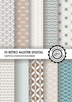 10 beautiful papers, seamless vector patterns for scrapbooking & more