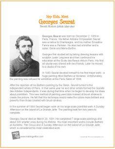 Famous Art For Kids Georges Seurat 23 New Ideas Art Handouts, Georges Seurat, Art Worksheets, Artist Biography, Art Studies, Art Classroom, Elementary Art, Teaching Art, Famous Artists
