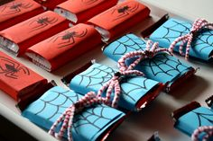 Spiderman party favors  --   I'm going to try and make these myself.