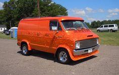 Customized 70's Dodge Van.