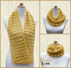 The Feminine Crochet Cowl is a fashionable accessory for any outfit this fall or winter. Wear it under a coat for added warmth or style it with a top and jacket for dimension to your ensemble. This crochet scarf is quick and easy.