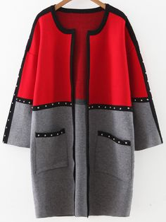 Color Block Studded Trim Sweater Coat With Pockets — € -----color: Red size: one-size Cute Comfy Outfits, Stylish Outfits, Coats For Women, Sweaters For Women, Clothes For Women, Mode Abaya, Denim Coat, Over 50 Womens Fashion, Sweater Coats