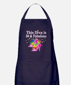 SWANKY 50TH Apron (dark) Dazzle, sparkle and shine with our fabulous 50th birthday Tees and gifts.http://www.cafepress.com/jlporiginals/6515976 #50yearsold #Happy50thbirthday #50thbirthdaygift #Happy50th #Personalized50th