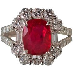 No Heat GIA Cert Ruby Diamond Platinum Ring (22 445 AUD) ❤ liked on Polyvore featuring jewelry, rings, diamond jewelry, diamond rings, round ring, ruby jewelry and baguette ring