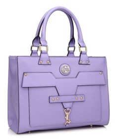 Look at this Segolene Noir Lavender Leather Caressa Tote on #zulily today!