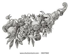 Horn of plenty vector. Vector illustration of horn of plenty , Classic Art, Ornament Drawing, Art Inspo, Illustration, Drawings, Horns, Art, Bird Art, Occult Art
