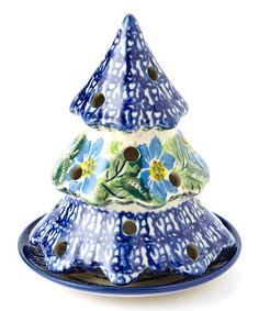 Take a look at this Blue Flower Small Tree Candleholder by Lidia's Polish Pottery on #zulily today!
