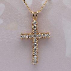 Cross Diamond Pendant Necklace, 14k gold  #crosspendantnecklace #diamondnecklace #14kgold #jewelryforher #hkjweddingring