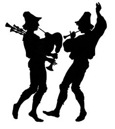 Click on Image to Enlarge Here's a happy Silhouette! This one shows 2 dancing Musicians, one with Bagpipes and one with a little Horn! If your doing any sort of Musical theme for your Holiday Decor this year, I think this one would work really well in your DIY projects!