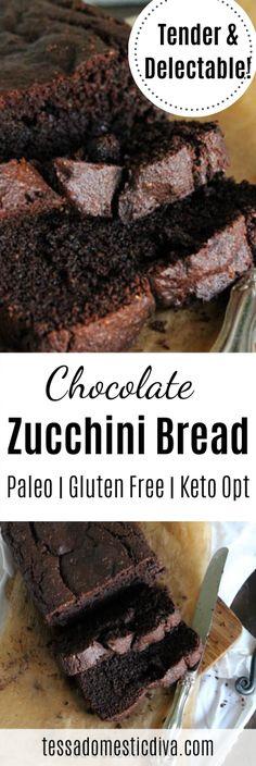 Paleo Chocolate Zucchini Bread w/ Hemp - Tessa the Domestic Diva Best Gluten Free Desserts, Paleo Recipes Easy, Gluten Free Recipes, Real Food Recipes, Dessert Recipes, Yummy Food, Paleo Dessert, Yummy Yummy, Bread Recipes