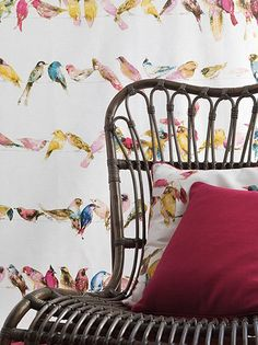 """Birds of Paradise"" from Chivasso's ""Living"" collection from Unique Fabrics.  Team it with their beautiful textured wallpaper in 46 colourways.  (Photo from Unique Fabrics)"