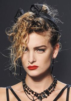 Madonna's 1980's inspired Makeup & Hair Style Jean Paul Gaultier Spring Summer 2013. #makeup #trends