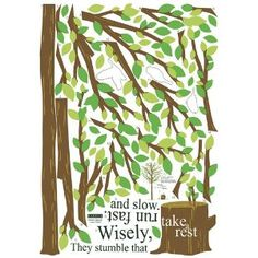 Reusable Decoration Wall Sticker Decal - Inspirational Quote Tree Stump Forest Bird