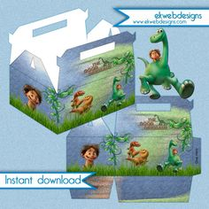 Disney The Good Dinosaur Birthday Party favor box - Instant download