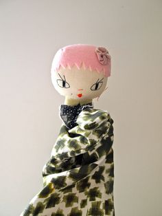 Hand puppet cloth doll pink girl Molly Dolly by JessQuinnSmallArt, £39.00