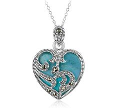 6/12/2012  $9.99 Sterling Silver Marcasite & Turquoise Heart Necklace