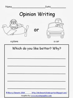 FREEBIE: Opinion Writing: Plane or Car: Which do you like better? Why?