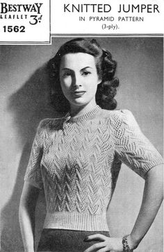 "Ladies Knitted Jumper Bust 36"" 1940s Vintage Knitting Pattern Bestway 1562 3-ply Light Fingering Sweater PDF Instant Download"