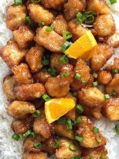 This baked orange chicken is tastes better than any Chinese take-out you'll get at a restaurant. Crispy coating of egg & cornstarch and then it's baked in a sweet and delicious orange sauce. This is a dish that you will want to make over and over again. Orange Chicken Breast Recipe, Orange Sauce Recipe, Baked Orange Chicken, Baked Chicken, Chicken Recipes, Honey Chicken, Chicken Meals, Orange Recipes, Asian Recipes