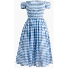 J.Crew Smocked Off-The-Shoulder Gingham Dress ($105) ❤ liked on Polyvore featuring dresses, slim fit dress, smocked dresses, blue beach dress, blue off the shoulder dress and beachy dresses