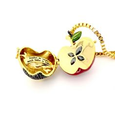 Disney Couture Snow White Large Poison Apple Locket Necklace